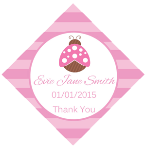 Set of 50 Personalised Gift Tags - Pink Ladybug Design