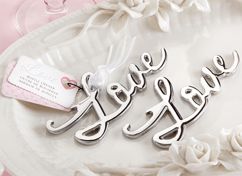 silver love bottle opener favour
