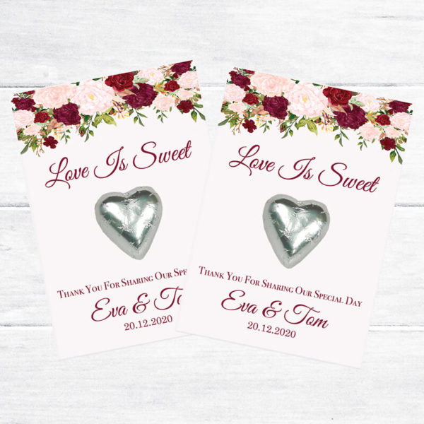 wedding personalised chocolate heart favours