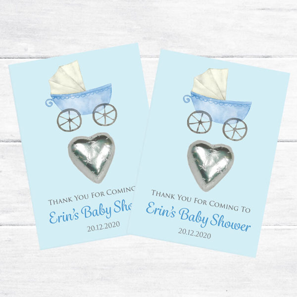 blue pram baby shower favour